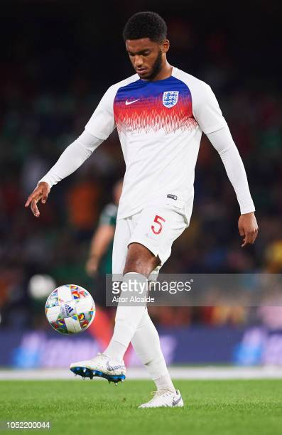 Joe Gomez of England warms up prior to the UEFA Nations League A Group Four match between Spain and England at Estadio Benito Villamarin on October...
