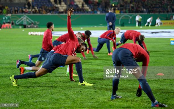 Joe Gomez of England warms up with team mates during the U21 international friendly match between Germany and England at BRITAArena on March 24 2017...