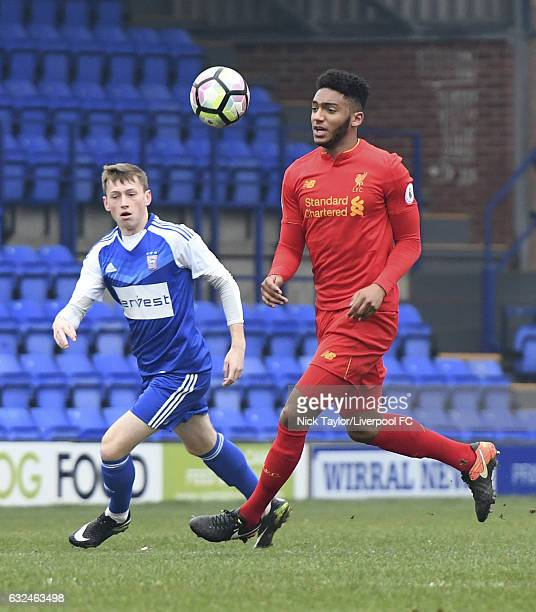 Joe Gomez of Liverpool and Ben Morris of Ipswich Town in action during the Liverpool v Ipswich Town Premier league Cup game at Prenton Park on...