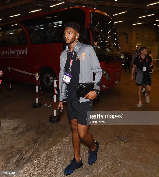 Joe Gomez of Liverpool arrives before the Premier League Asia Trophy match between Liverpool FC and Leicester City FC at the Hong Kong Stadium on...
