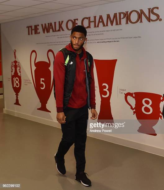 Joe Gomez of Liverpool arrives before the Premier League match between Liverpool and Stoke City at Anfield on April 28 2018 in Liverpool England
