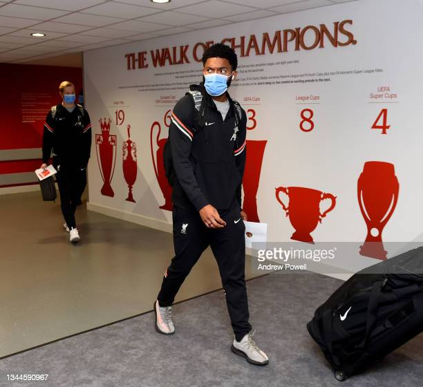 Joe Gomez of Liverpool arriving before the Premier League match between Liverpool and Manchester City at Anfield on October 03, 2021 in Liverpool,...