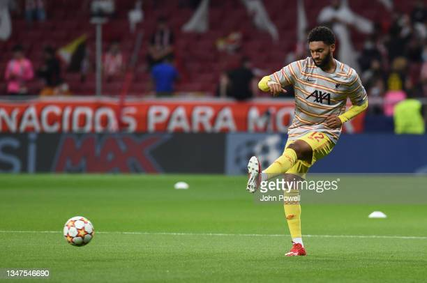 Joe Gomez of Liverpool before the UEFA Champions League group B match between Atletico Madrid and Liverpool FC at Wanda Metropolitano on October 19,...