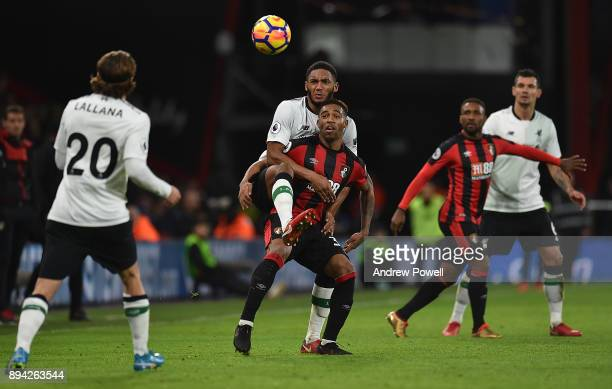 Joe Gomez of Liverpool competes with Jordon Ibe of AFC Bournemouth during the Premier League match between AFC Bournemouth and Liverpool at Vitality...
