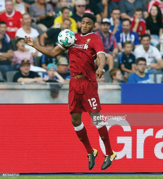 Joe Gomez of Liverpool controls the ball during the Preseason Friendly match between Hertha BSC and FC Liverpool at Olympiastadion on July 29 2017 in...