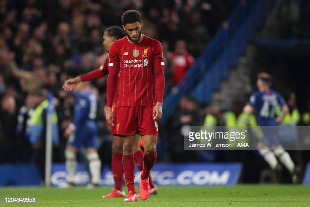 Joe Gomez of Liverpool dejected after Ross Barkley of Chelsea scored a goal to make it 2-0 during the FA Cup Fifth Round match between Chelsea FC and...