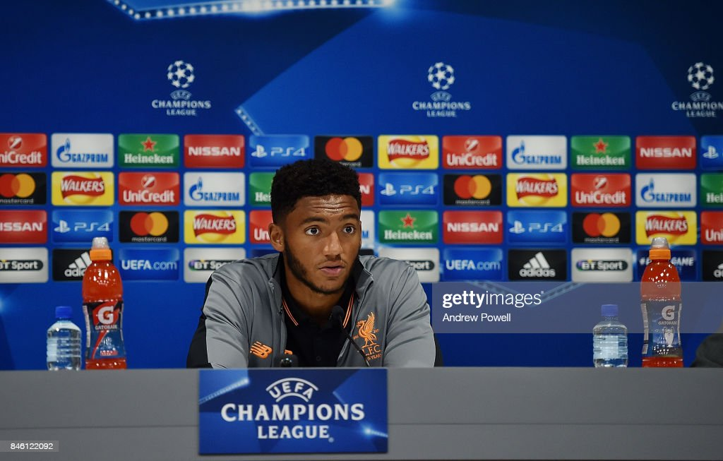 Joe Gomez of Liverpool during a press conference session at Melwood Training Ground on September 12, 2017 in Liverpool, United Kingdom.