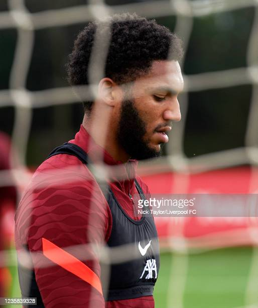 Joe Gomez of Liverpool during a training session at AXA Training Centre on October 12, 2021 in Kirkby, England.