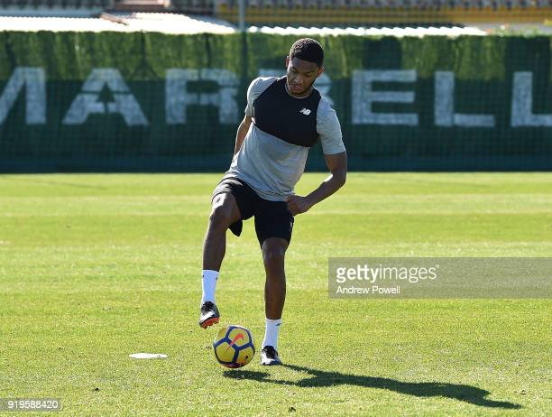 Joe Gomez of Liverpool during a training session at Marbella Football Center on February 17 2018 in Marbella Spain