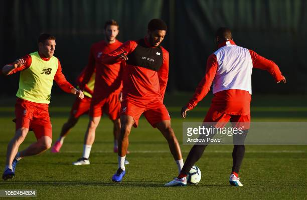 Joe Gomez of Liverpool during a training session at Melwood Training Ground on October 18 2018 in Liverpool England