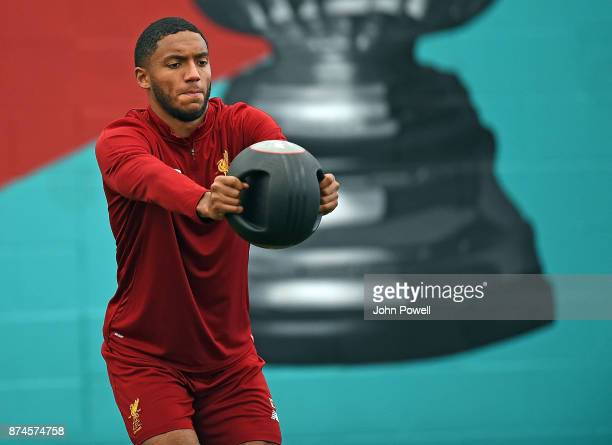 Joe Gomez of Liverpool during a training session at Melwood Training Ground on November 15 2017 in Liverpool England