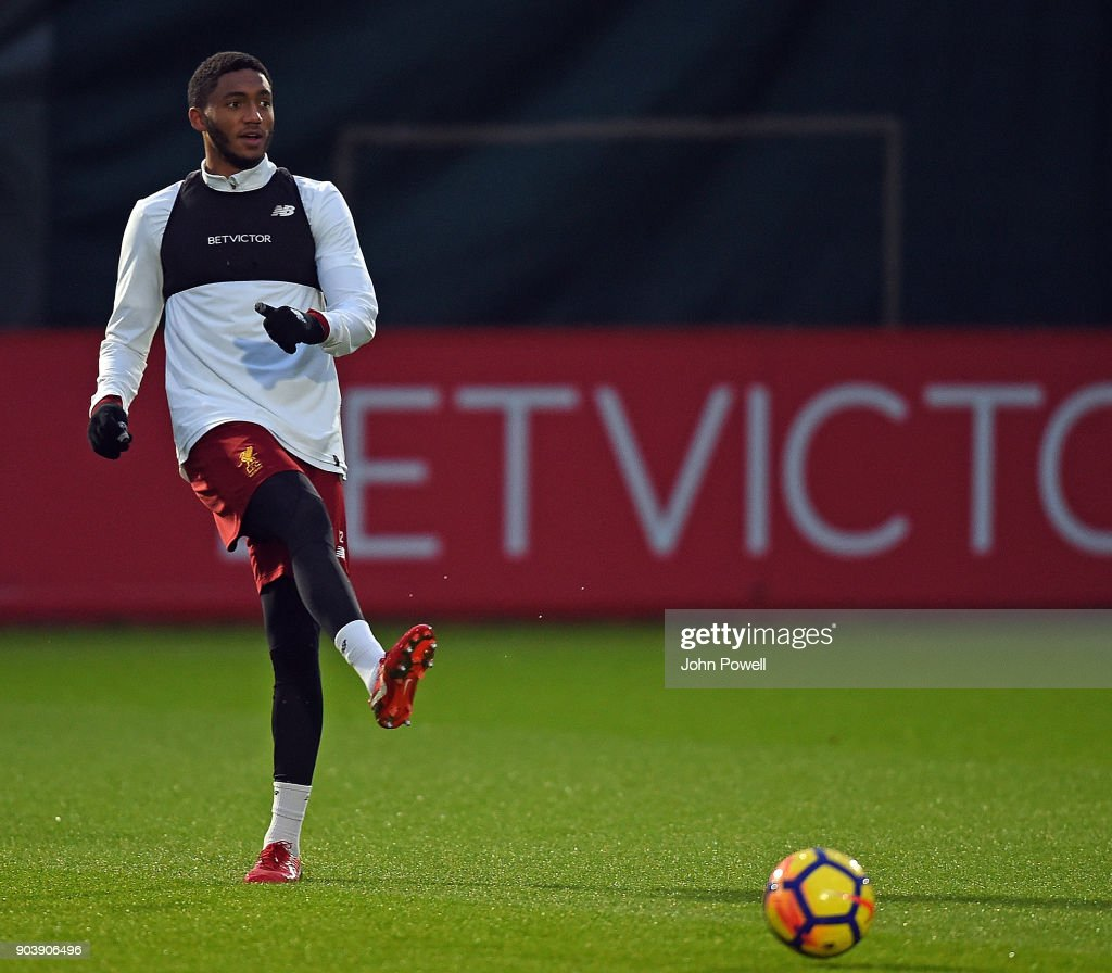 Joe Gomez of Liverpool during a training session at Melwood Training Ground on January 11, 2018 in Liverpool, England.