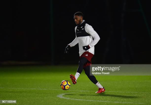 Joe Gomez of Liverpool during a training session at Melwood Training Ground on January 19 2018 in Liverpool England
