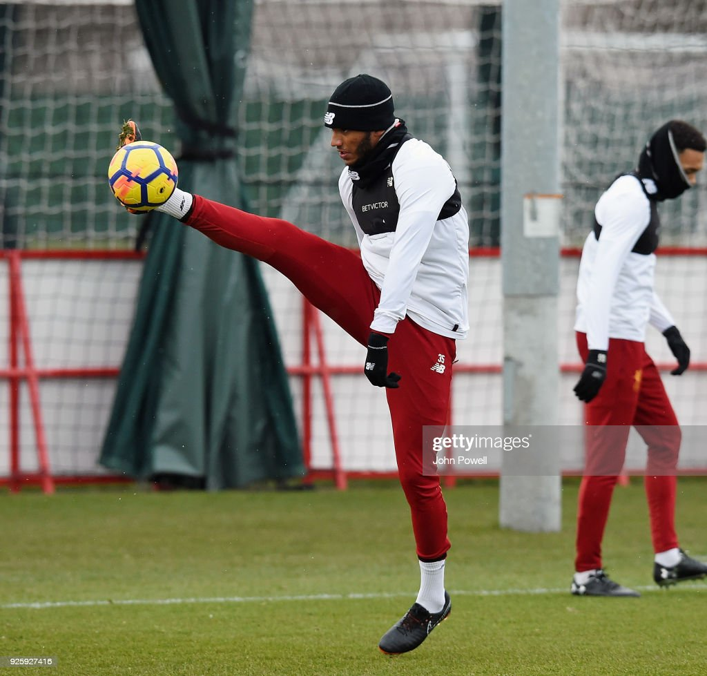 Joe Gomez of Liverpool during a training session at Melwood Training Ground on March 1, 2018 in Liverpool, England.