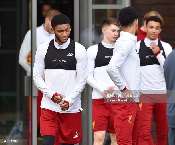 Joe Gomez of Liverpool during a training session at Melwood Training Ground on April 17 2018 in Liverpool England