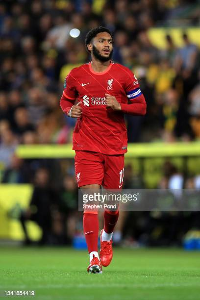 Joe Gomez of Liverpool during the Carabao Cup Third Round match between Norwich City and Liverpool at Carrow Road on September 21, 2021 in Norwich,...