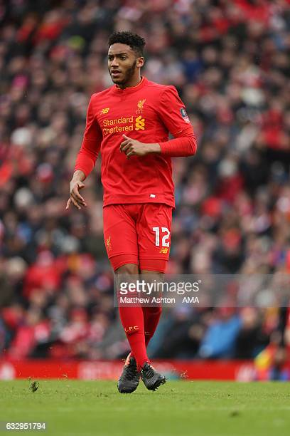 Joe Gomez of Liverpool during The Emirates FA Cup Fourth Round between Liverpool and Wolverhampton Wanderers at Anfield on January 28 2017 in...