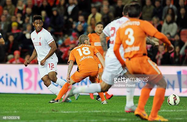 Joe Gomez of Liverpool during the international friendly match between Brisbane Roar and Liverpool FC at Suncorp Stadium on July 17 2015 in Brisbane...