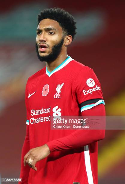 Joe Gomez of Liverpool during the Premier League match between Liverpool and West Ham United at Anfield on October 31 2020 in Liverpool England...