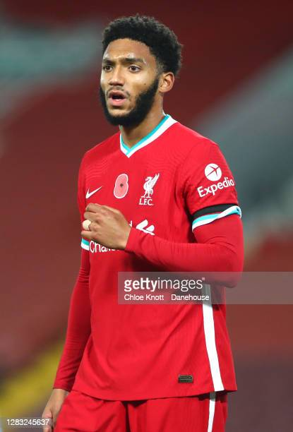 Joe Gomez of Liverpool during the Premier League match between Liverpool and West Ham United at Anfield on October 31, 2020 in Liverpool, England....