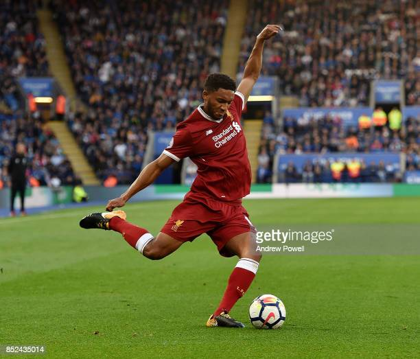 Joe Gomez of Liverpool during the Premier League match between Leicester City and Liverpool at The King Power Stadium on September 23 2017 in...