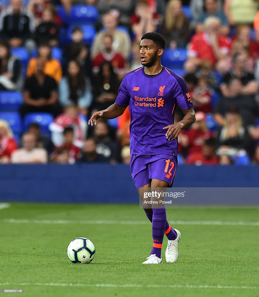 Joe Gomez of Liverpool during the pre-season friendly match between Tranmere Rovers and Liverpool at Prenton Park on July 10, 2018 in Birkenhead, England.