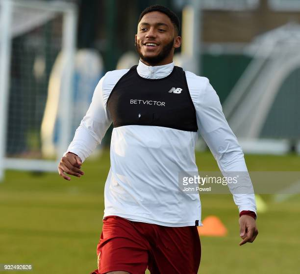 Joe Gomez of Liverpool during the training session at Melwood Training Ground on March 15 2018 in Liverpool England
