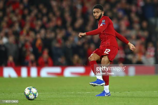 Joe Gomez of Liverpool during the UEFA Champions League group E match between Liverpool FC and SSC Napoli at Anfield on November 27, 2019 in...