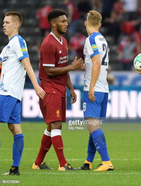 Joe Gomez of Liverpool FC and Arne Maier of Hertha BSC during the test match between Hertha BSC and Liverpool FC on july 29 2017 in Berlin Germany