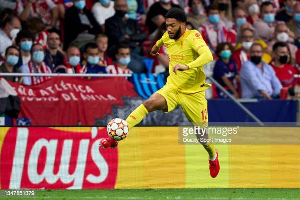 Joe Gomez of Liverpool FC controls a ball during the UEFA Champions League group B match between Atletico Madrid and Liverpool FC at Wanda...