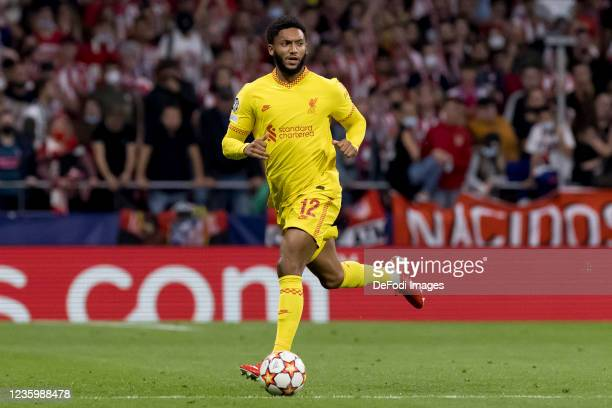 Joe Gomez of Liverpool FC controls the ball during the UEFA Champions League group B match between Atletico Madrid and Liverpool FC at Wanda...