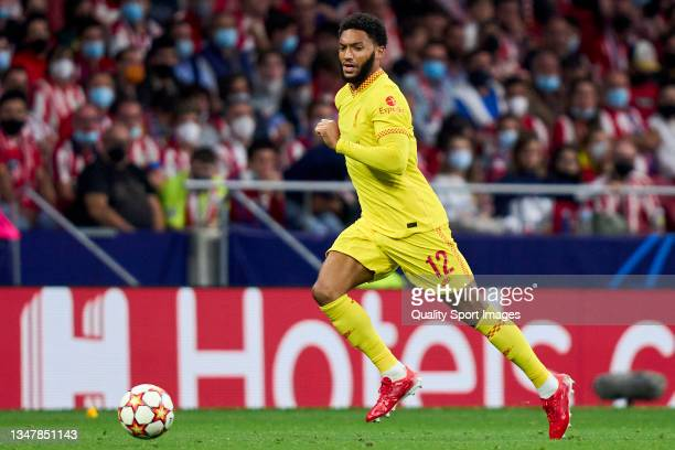 Joe Gomez of Liverpool FC runs with the ball during the UEFA Champions League group B match between Atletico Madrid and Liverpool FC at Wanda...