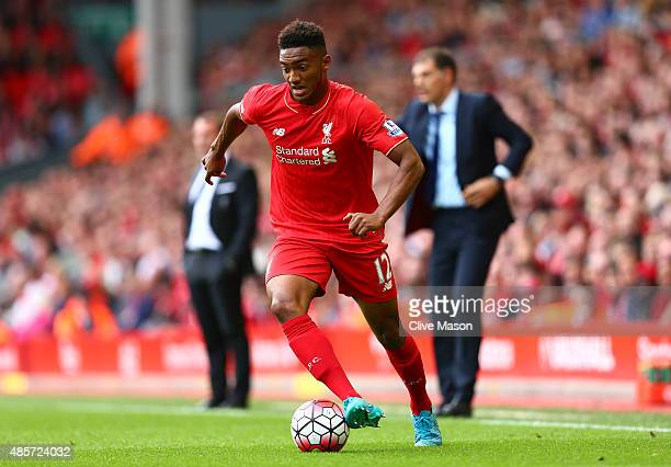 Joe Gomez of Liverpool in aciton during the Barclays Premier League match between Liverpool and West Ham United at Anfield on August 29 2015 in...