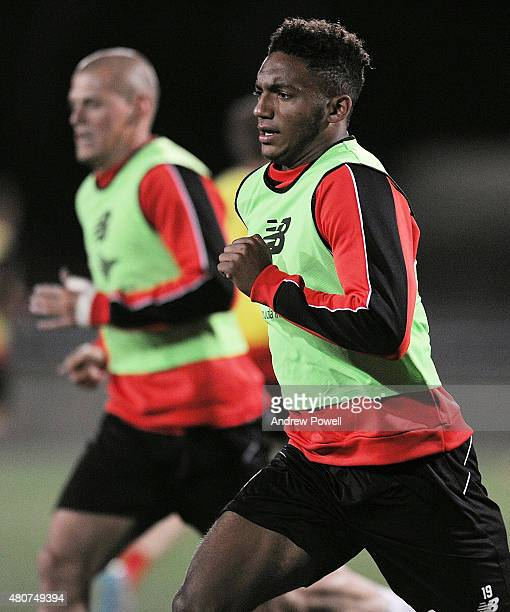 Joe Gomez of Liverpool in action during a training session on July 15 2015 in Brisbane Australia
