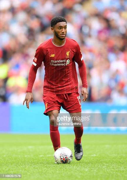 Joe Gomez of Liverpool in action during the FA Community Shield match between Manchester City and Liverpool at Wembley Stadium on August 04 2019 in...