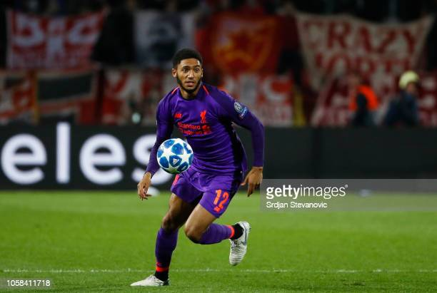 Joe Gomez of Liverpool in action during the Group C match of the UEFA Champions League between Red Star Belgrade and Liverpool at Rajko Mitic Stadium...