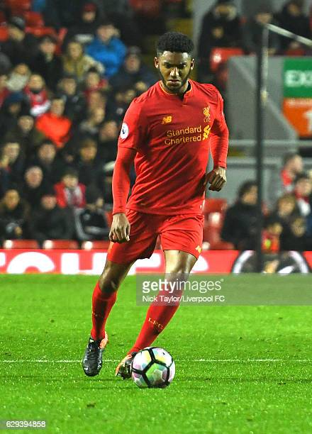 Joe Gomez of Liverpool in action during the Premier League 2 match between Liverpool and Arsenal at Anfield on December 12 2016 in Liverpool England