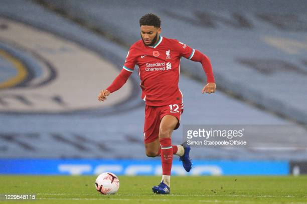 Joe Gomez of Liverpool in action during the Premier League match between Manchester City and Liverpool at Etihad Stadium on November 8, 2020 in...