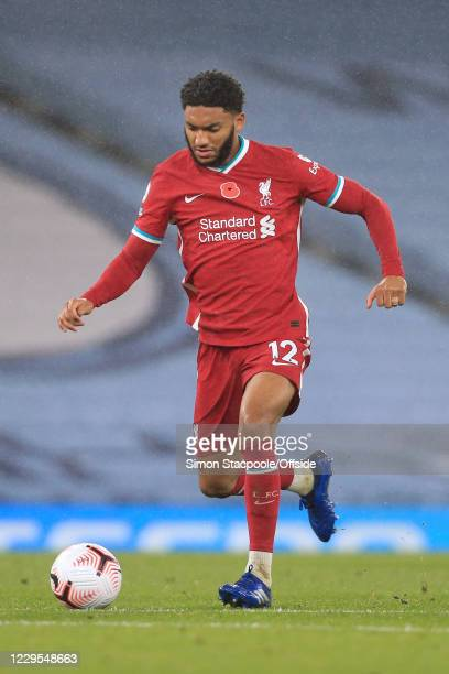 Joe Gomez of Liverpool in action during the Premier League match between Manchester City and Liverpool at Etihad Stadium on November 8 2020 in...