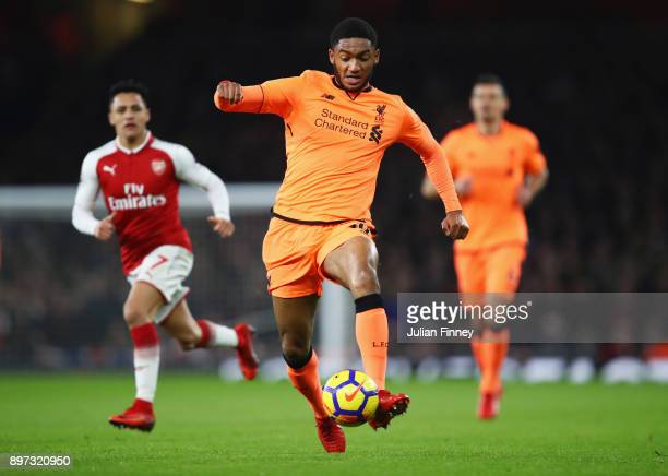 Joe Gomez of Liverpool in action during the Premier League match between Arsenal and Liverpool at Emirates Stadium on December 22 2017 in London...