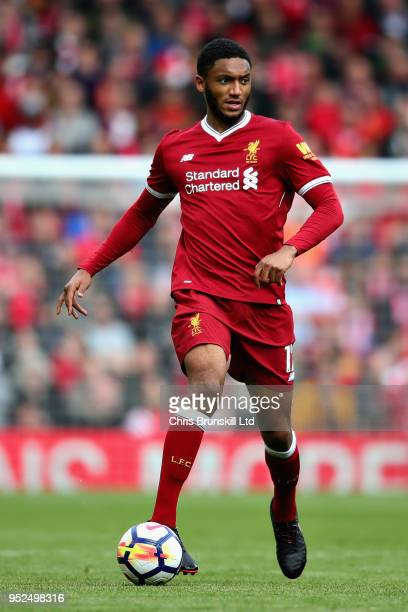 Joe Gomez of Liverpool in action during the Premier League match between Liverpool and Stoke City at Anfield on April 28 2018 in Liverpool England