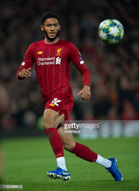 Joe Gomez of Liverpool in action during the UEFA Champions League group E match between Liverpool FC and SSC Napoli at Anfield on November 27 2019 in...