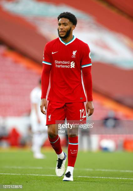 Joe Gomez of Liverpool looks on during the Premier League match between Liverpool and Leeds United at Anfield on September 12, 2020 in Liverpool,...