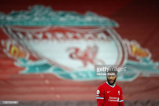Joe Gomez of Liverpool looks on during the Premier League match between Liverpool and Sheffield United at Anfield on October 24, 2020 in Liverpool,...
