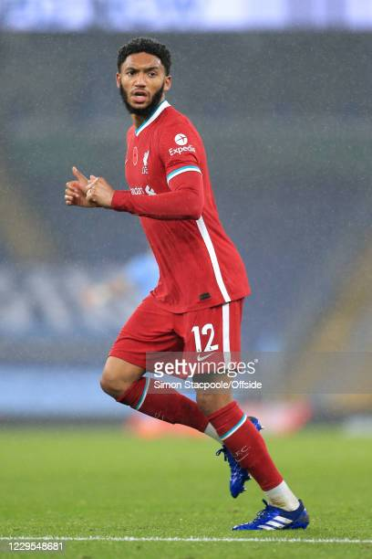 Joe Gomez of Liverpool looks on during the Premier League match between Manchester City and Liverpool at Etihad Stadium on November 8, 2020 in...