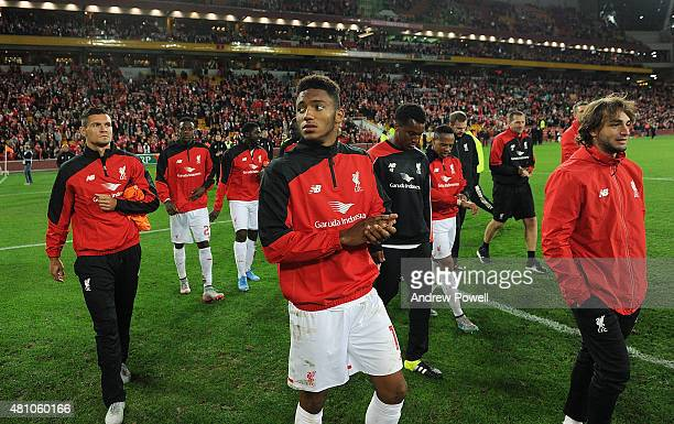 Joe Gomez of Liverpool show their appreciation to the fans at the end of the international friendly match between Brisbane Roar and Liverpool FC at...