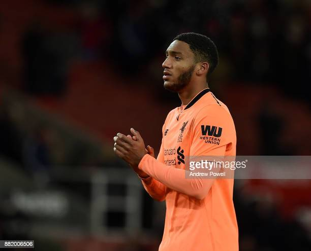 Joe Gomez of Liverpool shows his appreciation to the fans at the end of the Premier League match between Stoke City and Liverpool at Bet365 Stadium...
