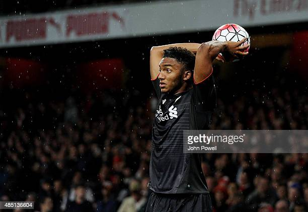 Joe Gomez of Liverpool takes a throw in during the Barclays Premier League match between Arsenal and Liverpool on August 24 2015 in London United...