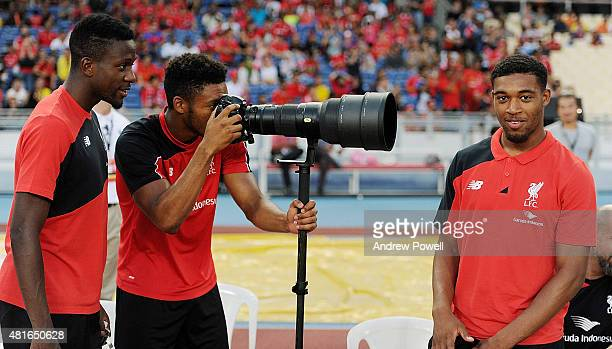 Joe Gomez of Liverpool tries his hand at photography during a training session on July 23 2015 in Kuala Lumpur Malaysia