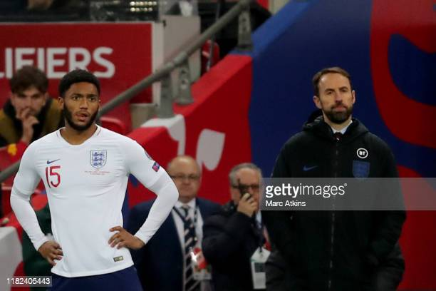 Joe Gomez with England Manager Gareth Southgate during the UEFA Euro 2020 qualifier between England and Montenegro at Wembley Stadium on November 14...